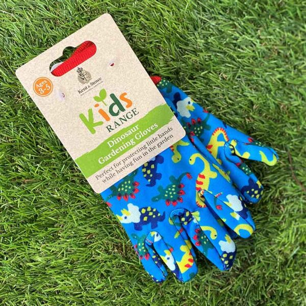 Kent & Stowe Kids Dinosaur Gardening Gloves in Blue