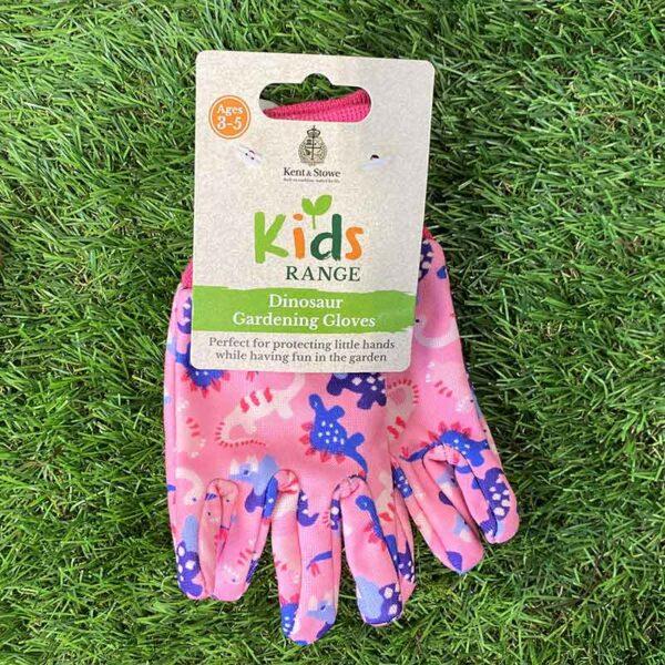 Kent & Stowe Kids Dinosaur Gardening Gloves in Pink