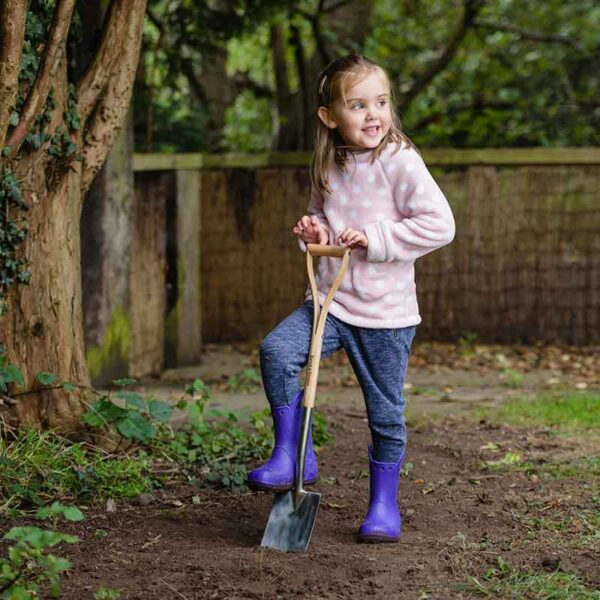 Kent & Stowe Kids Stainless Steel Digging Spade in use