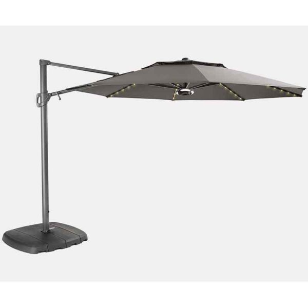 Kettler 3.3m Free Arm Parasol with LED Lighting and Outdoor Wireless Speaker