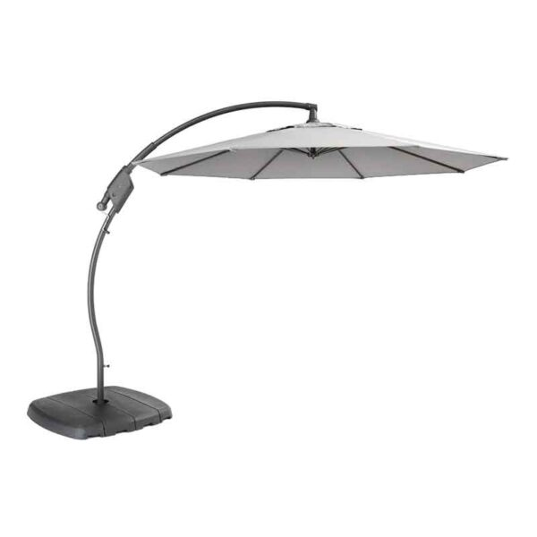 Kettler 3m Free Arm Parasol with base & night cover (Grey frame & Silver canopy)