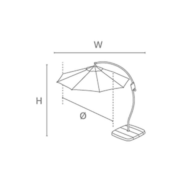Kettler 3m Free Arm Parasol with base & night cover dimension information
