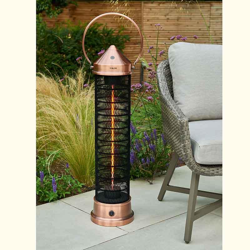 Kettler Kalos Copper Lantern Tall Heater on patio