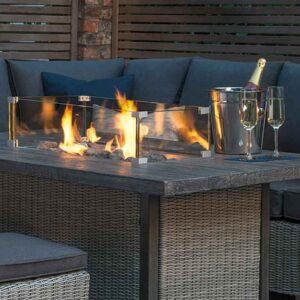 Kettler Palma Casual Dining Mini Corner Set in Rattan with Fire Pit Table
