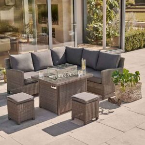 Kettler Palma Mini Corner Set with Fire Pit Table in Rattan on patio