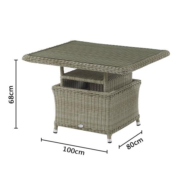 Bramblecrest Monte Carlo mini adjustable casual dining table dimensions