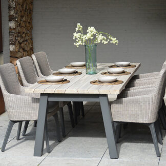 4 Seasons Outdoor - Luxor Dining Set for 6 (Luxur Dining Chairs with Derby Table)