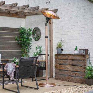 La Hacienda Adjustable Standing Heater Copper with tilted head