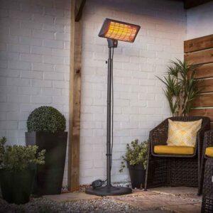 La Hacienda Grey Standing Quartz Heater on patio
