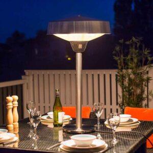 La Hacienda Halogen Electric Tabletop Heater Silver in use