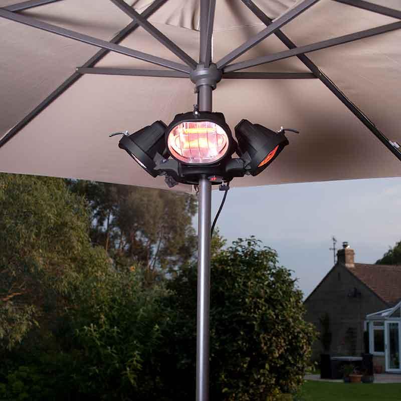La Hacienda Heatmaster Popular Electric Heater on parasol pole