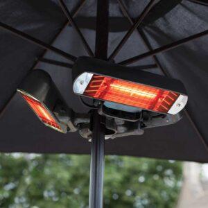 La Hacienda Heatmaster Slimline Parasol Heater in use