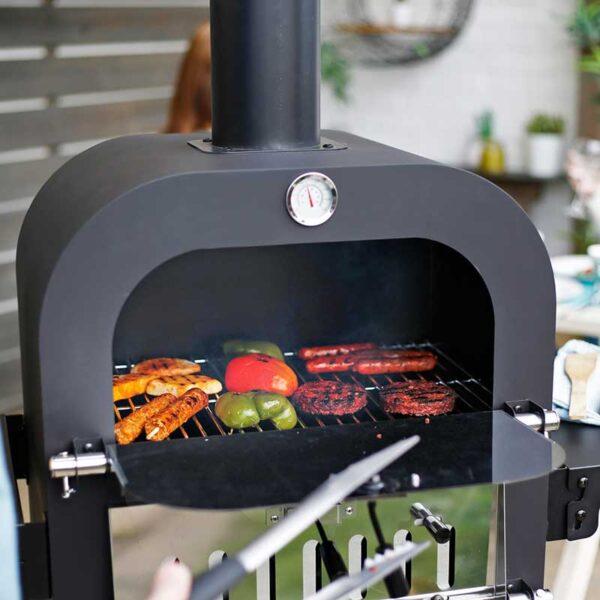 La Hacienda Salona Multi-Function Pizza Oven BBQ grill in use