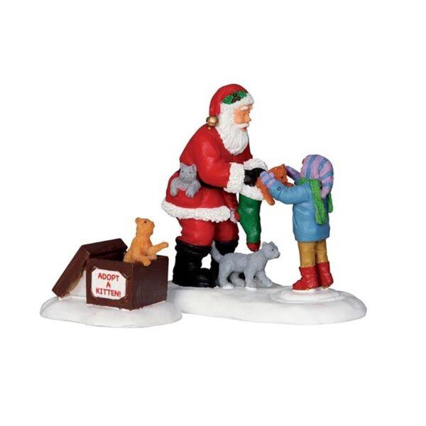 Lemax Santa And Kittens - Set of 2
