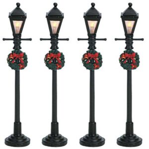 Set of 4 Lemax Gas Lantern Street Lamps