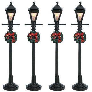 Set of 4 Lemax Gas Lantern Street Lamps