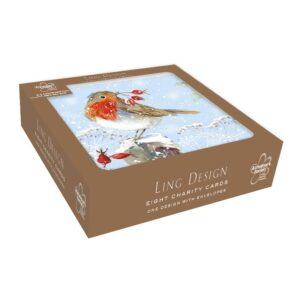 Ling Design Christmas Robin Charity Box