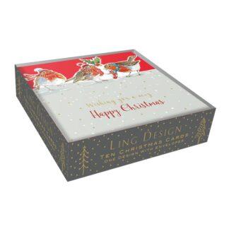 Ling Design Christmas Robins Box