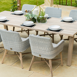 4 Seasons Outdoor 8 Seat Dining Set - Derby Table & Lisboa Dining Chairs