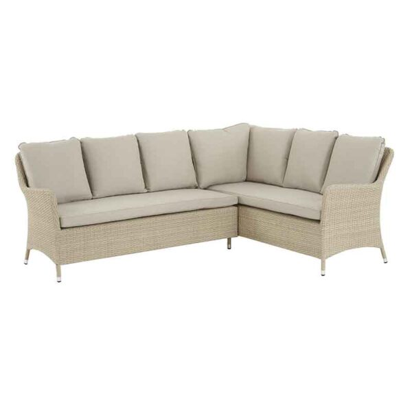 Long Left Modular Sofa in Nutmeg with Eco Fawn Linen Cushions