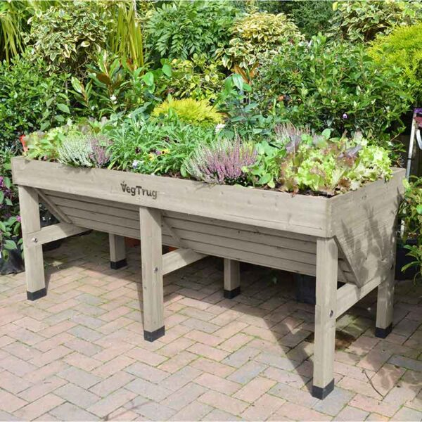 Medium 1.8m VegTrug in Grey Wash planted on patio