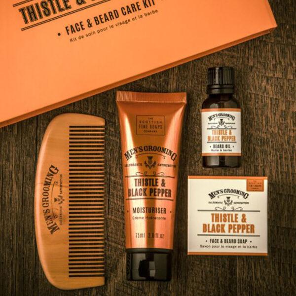 Men's Grooming Thistle & Black Face & Beard Care Kit Lifestyle