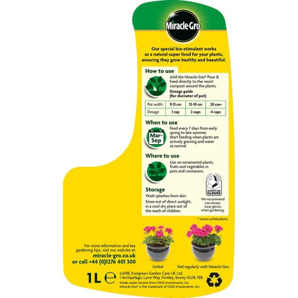 Miracle-Gro Pour & Feed Ready to Use Plant Food details for use