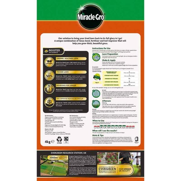 Miracle-Gro Thick' R Lawn pack information