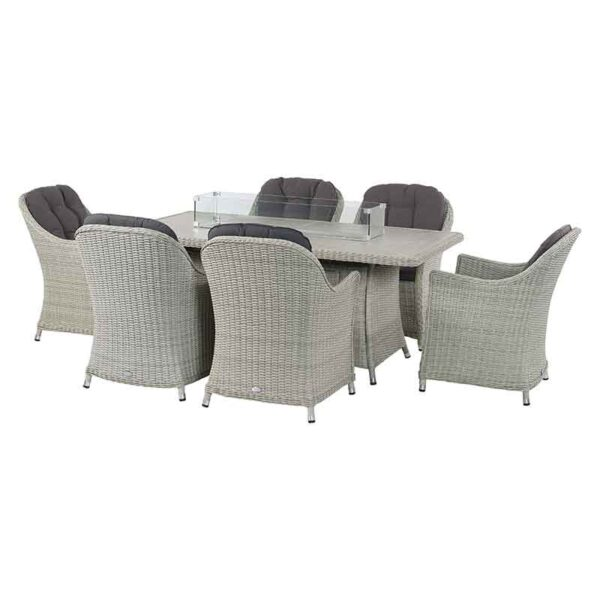 Monterey Dining Set with Ceramic Firepit Table & 6 Armchairs