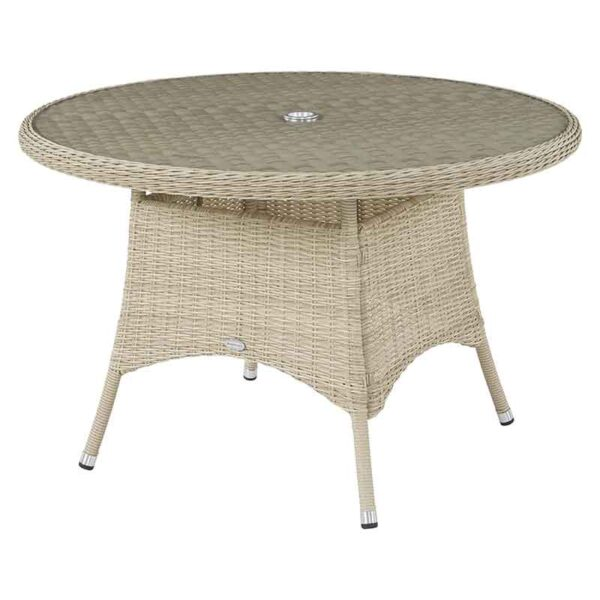 Monterey Round Table in Sandstone with recessed glass top