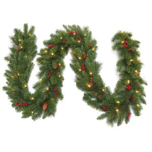 National Tree Company Pre lit Garland with Pine Cones & Berries