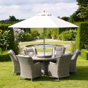 Bramblecrest Oakridge 6 Seat Garden Dining Set with Round Table