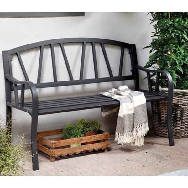 Outdoor Iron Bench in Anthracite Matt