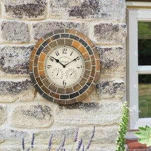 Outside In Stonegate Mosaic Wall Clock & Thermometer Lifestyle