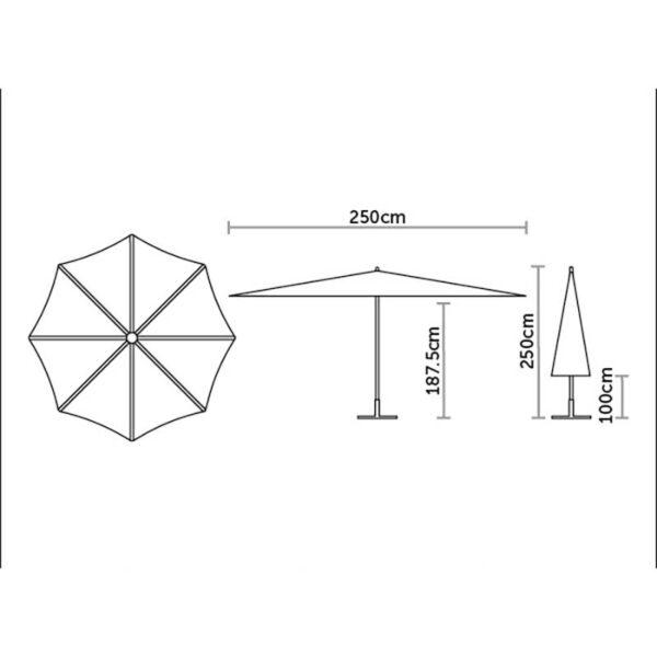 Bramblecrest 2.5m Parasol DImensions