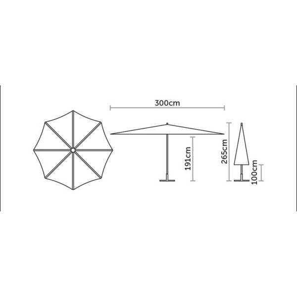 Bramblecrest 3m Round Crank Handle Parasol Dimensions