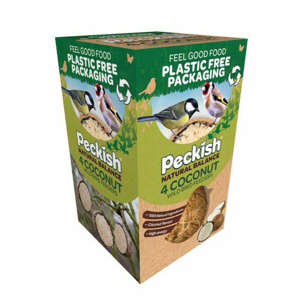 Peckish Natural Balance Coconut Wild Bird Feeders (Pack of 4)
