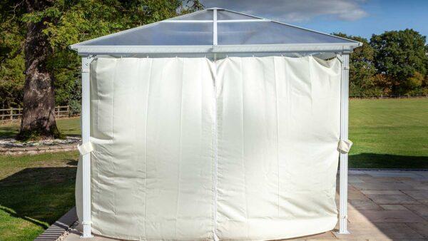 Hartman 3 x 3m Polycarbonate Gazebo in White Curtains Closed