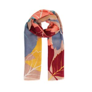 Powder Autumn Leaves print Scarf