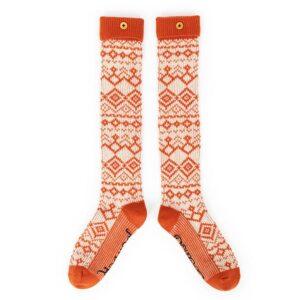 Powder Fair Isle Knee High Socks in Tangerine