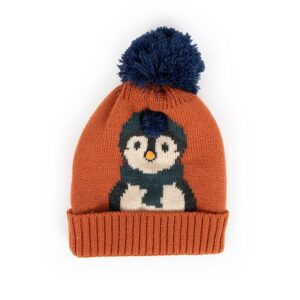 Powder Kid's Cosy Penguin Hat in Tangerine