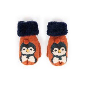Powder Kid's Cosy Penguin Mittens in Tangerine