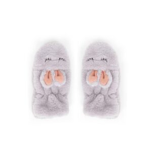 Powder Kid's Fluffy Bunny Mittens in Slate