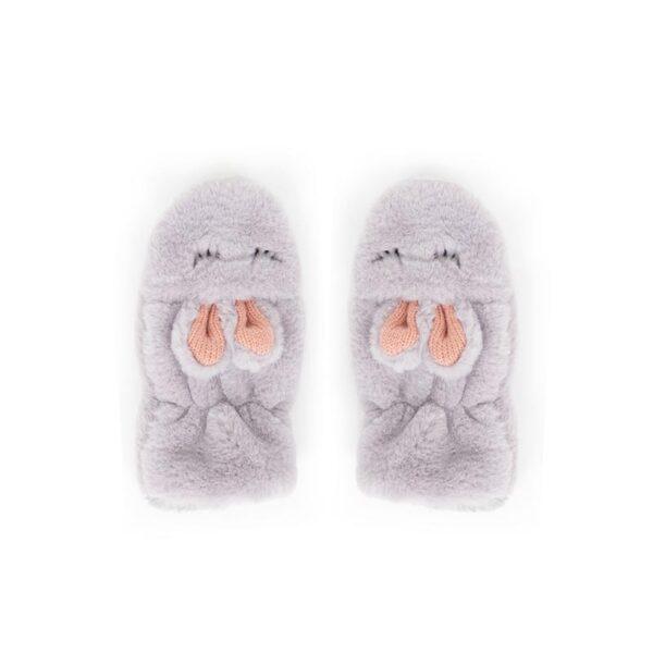 Powder Kid's Fluffy Bunny Mittens in Slate