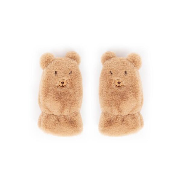 Powder Kid's Fluffy Teddy Mittens in Tan