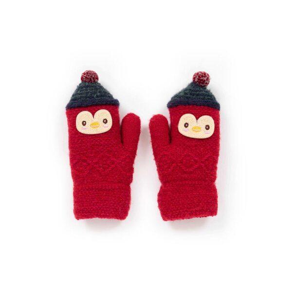 Powder Kid's Woolly Penguin Mittens in Scarlet