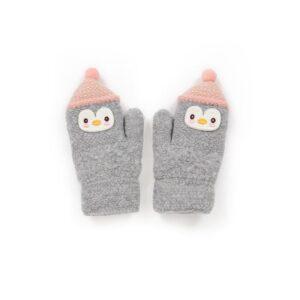 Powder Kid's Woolly Penguin Mittens in Slate