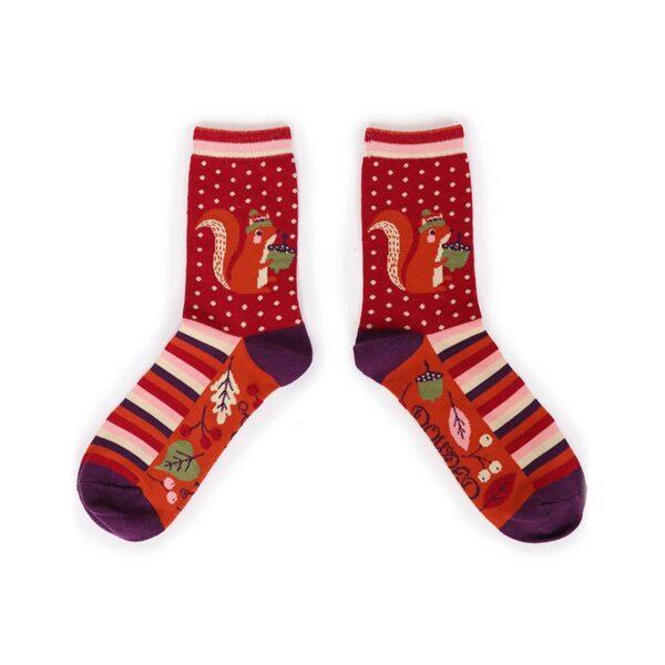 Powder Nutty Squirrel Ankle Socks