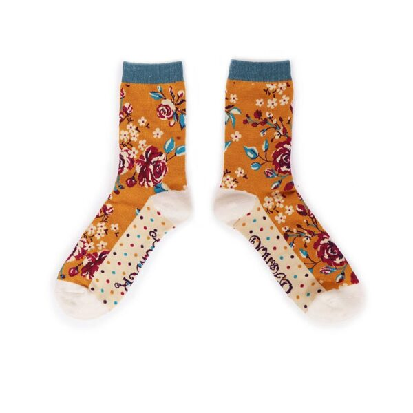 Powder BRosebud Ankle Socks-Mustard