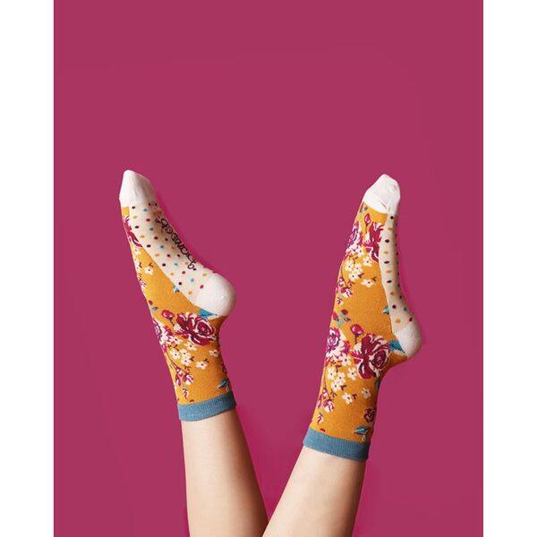 Powder Rosebud Ankle Socks-Mustard LIfestyle